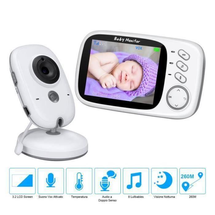 SR-32816LETOUCH BabyPhone Vidéo Sans Fil Multifonctions 3.2-LCD Couleur Vidéo,Audio Bidirectionnel, Vision Nocturne
