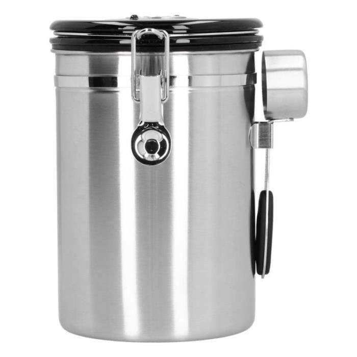 BS06584- Pot scellé de café Boîte à grains de café avec soupape d'échappement Récipient étanche en acier inoxydable avec