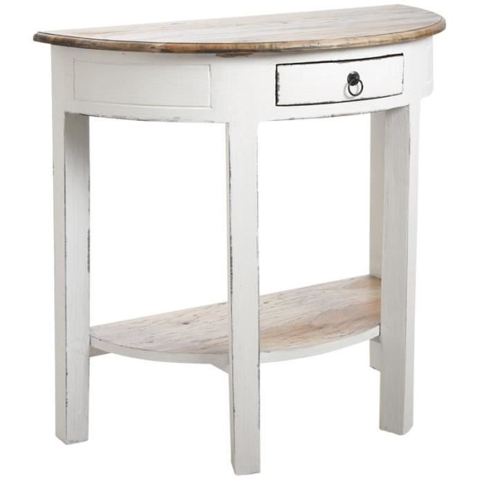 console demi lune en bois blanc achat vente console. Black Bedroom Furniture Sets. Home Design Ideas