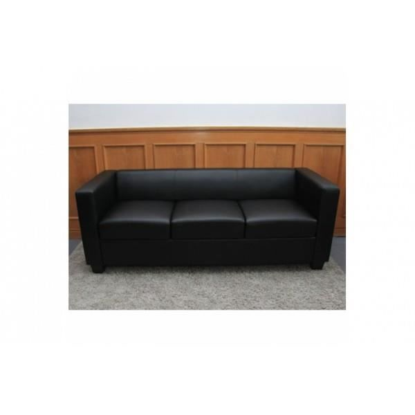 canap 3 places salon lille cuir noir achat vente canap sofa divan cuir polyester. Black Bedroom Furniture Sets. Home Design Ideas