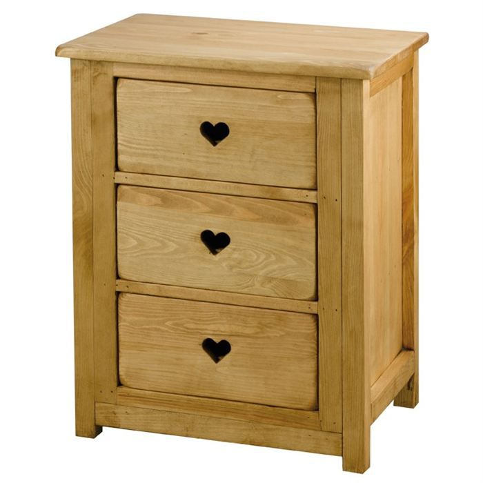 commode rustique en pin 3 tiroirs avec coeur achat vente commode de chambre commode rustique. Black Bedroom Furniture Sets. Home Design Ideas
