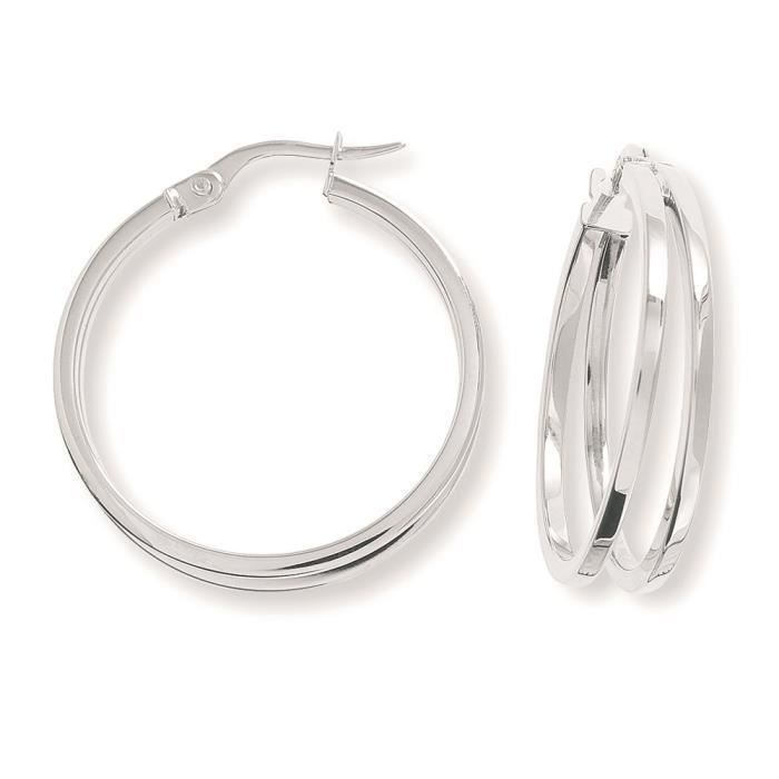 Jewelco London Dames Or blanc 9k cerceau des boucles doreilles26mm