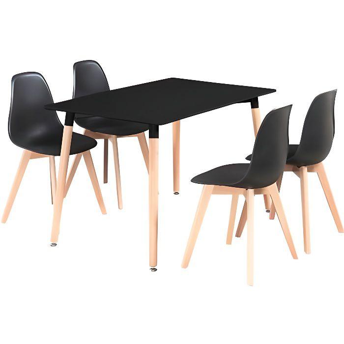 Ensemble Table à Manger Noire + 4 Chaises Noires - Design Scandinave  Minimaliste - Salle à Manger, Cuisine, Salon, Bureau