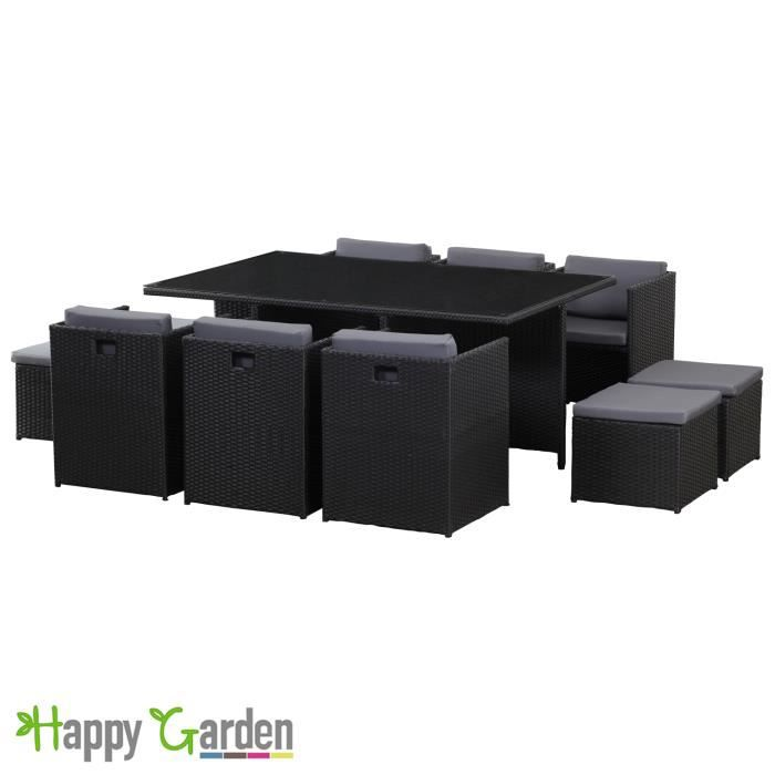 salon de jardin en r sine tress e noir encastrable 10. Black Bedroom Furniture Sets. Home Design Ideas