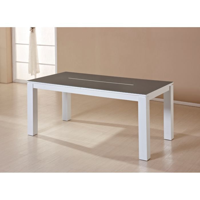 Table design a rallonges oakland taupe et blanc achat vente table mange - Table a manger taupe ...
