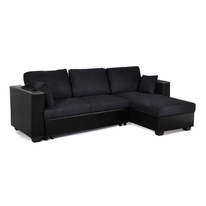 Canap laurens noir convertible 5 places achat vente for Canape 5 place convertible