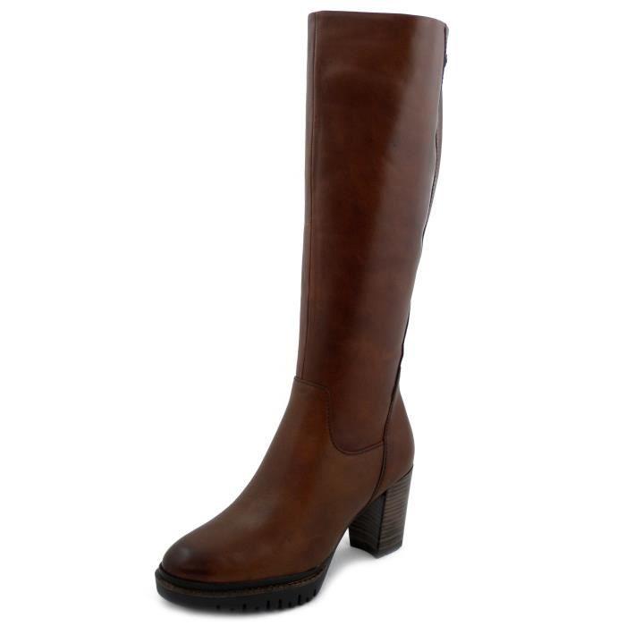 et cuir Botte 8cm en plateau marron femme Cognactalon O0nNvm8w