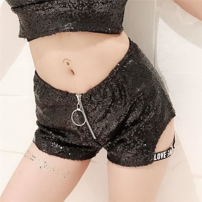 Haute taille noir dentelle supérieure shorts hot pants XS-XXXL