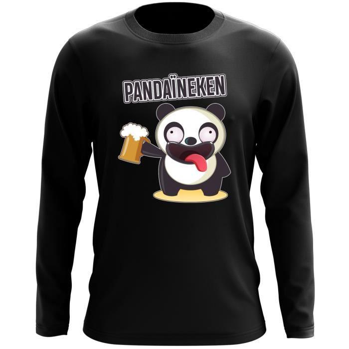 T-SHIRT T-Shirt à manches longues Noir Funny parodique Pan