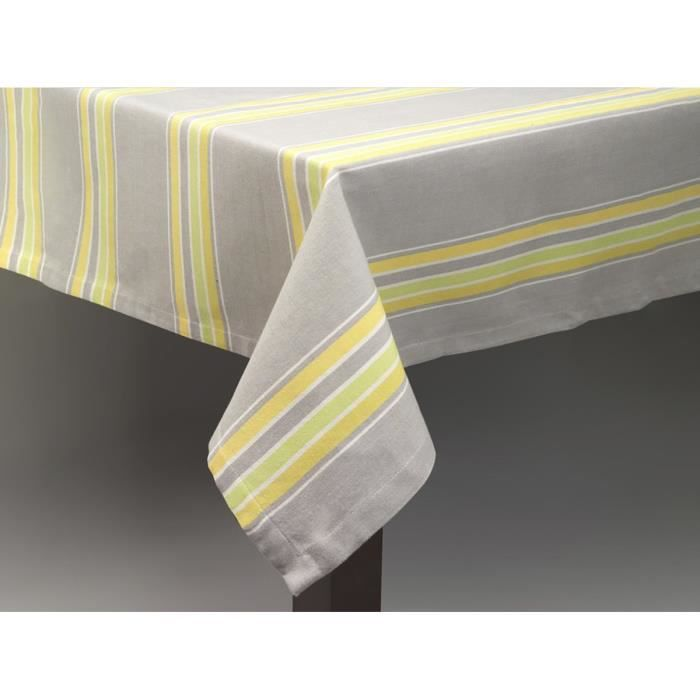 simla nappe ray e gris vert jaune simla gris 180 x 180 cm achat vente nappe de table. Black Bedroom Furniture Sets. Home Design Ideas