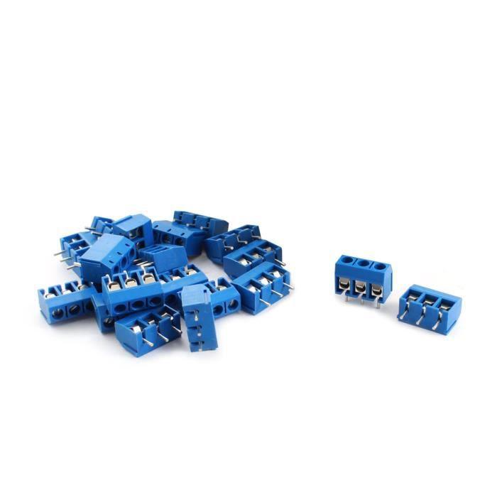 3 Broches PCB Vis Bornier 300 V 14-22 16 AWG Bleu sourcingmap Lot de 20 /à 5 mm