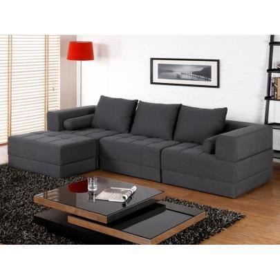 canap modulable en tissu sisco gris achat vente canap sofa divan polyester. Black Bedroom Furniture Sets. Home Design Ideas