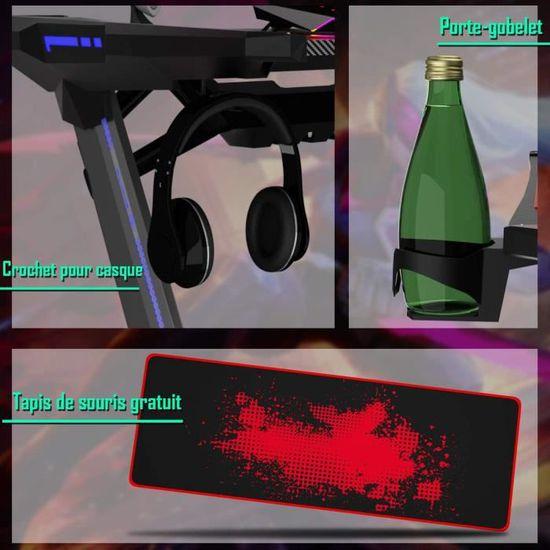 Costway Bureau Gaming,Bureau de Jeu pour Gamer avec 2 Porte-Ecouteurs,1 Porte-gobelet,1 Support de Poign/ée de Jeu avec Interface USB 5V 2A,Tapis de Souris Gratuit Pieds en Z Stable