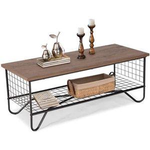 TABLE BASSE COSTWAY Table Basse Vintage Table de Salon avec Es