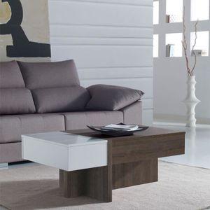 TABLE BASSE Table basse relevable blanc/chêne foncé - AJAR  -