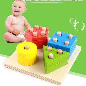 ASSEMBLAGE CONSTRUCTION Bébé Jouets Éducatifs Montessori En Bois 4 Géométr