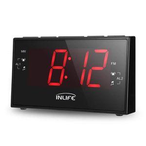 Radio réveil InLife Réveil matin Radio FM AM, Affichage grand,