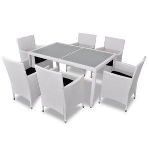 Salon de jardin blanc en résine tressée 6 chaises + 1 table ...
