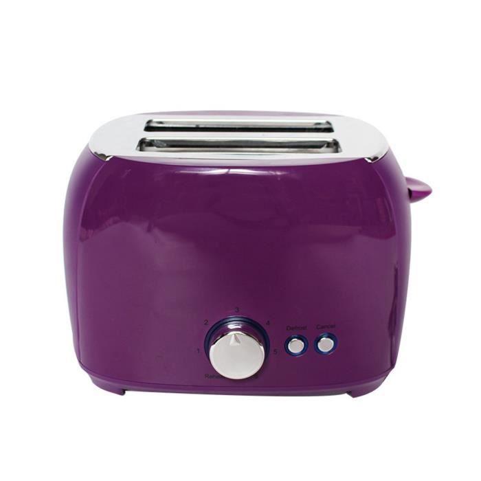 Grille-Pain En Acier Inoxydable À Fente Extra Large À 2 Tranches Violet _D624