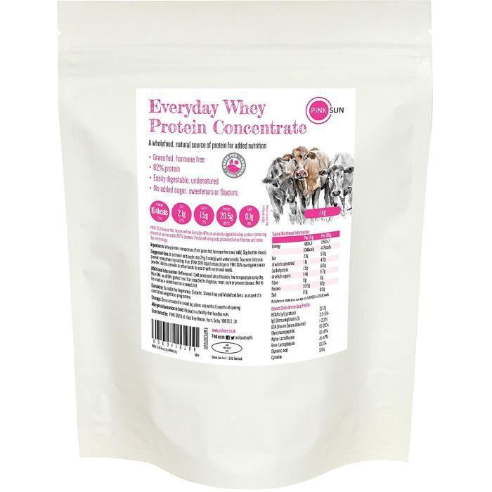 PINK SUN Everyday Whey 1kg de Protéines de Lactosérum en Poudre Nourri à l'herbe Sans Hormones Whey Protein Concentrate Powder