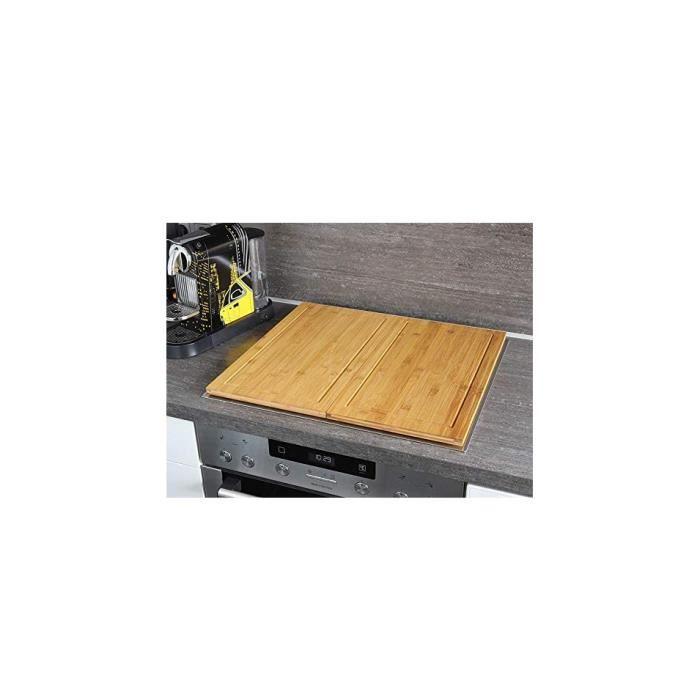 Lot de 2 couvre-plaques / planches à découper en bambou 50 x 28 cm