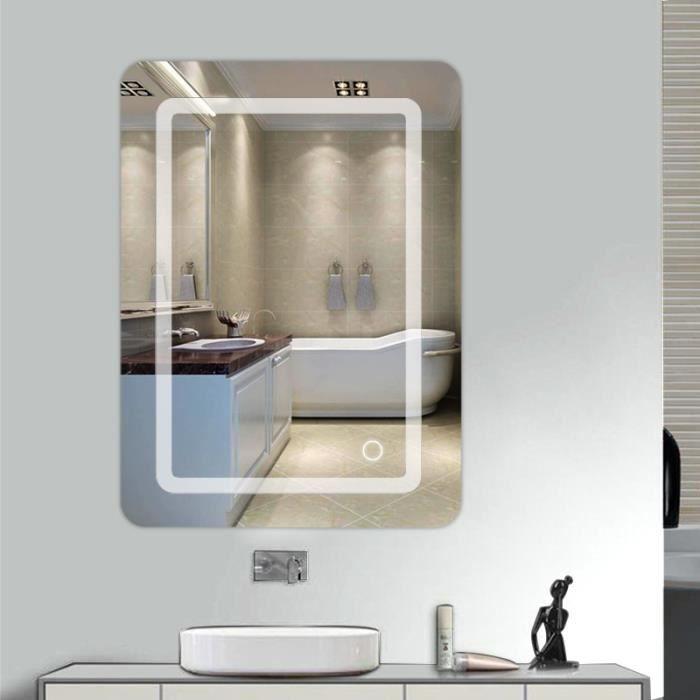 WISS-Miroir lumineux LED de salle de bain 9 W dim. 50 x 4 x 70 cm neuf 24