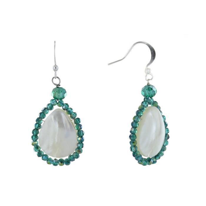 Les Poulettes Bijoux - Boucles d'Oreilles Argent Goutte de Nacre Perles de Verre Facettées - Vert