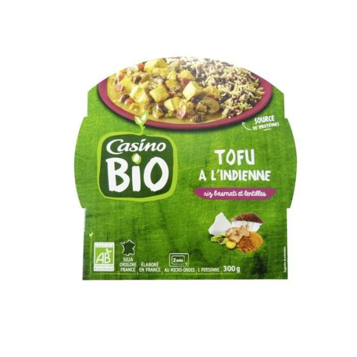 CASINO Tofu à l'indienne Riz basmati et lentilles Bio - 300G