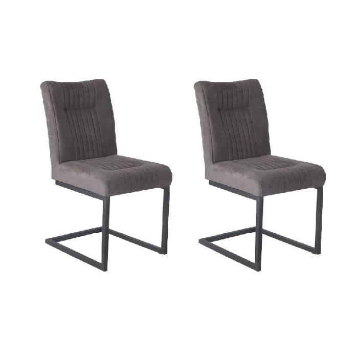 Lot de 2 Chaises velours gris et pieds métal noirs - VIVI