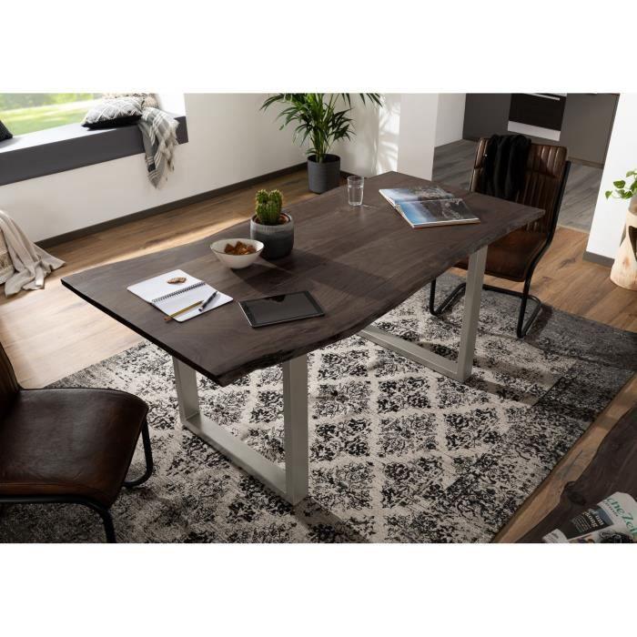 Table à manger 160x90cm - Bois massif d'acacia laqué (Gris/Bois Taupe) - Design moderne naturel - FREEFORM 3
