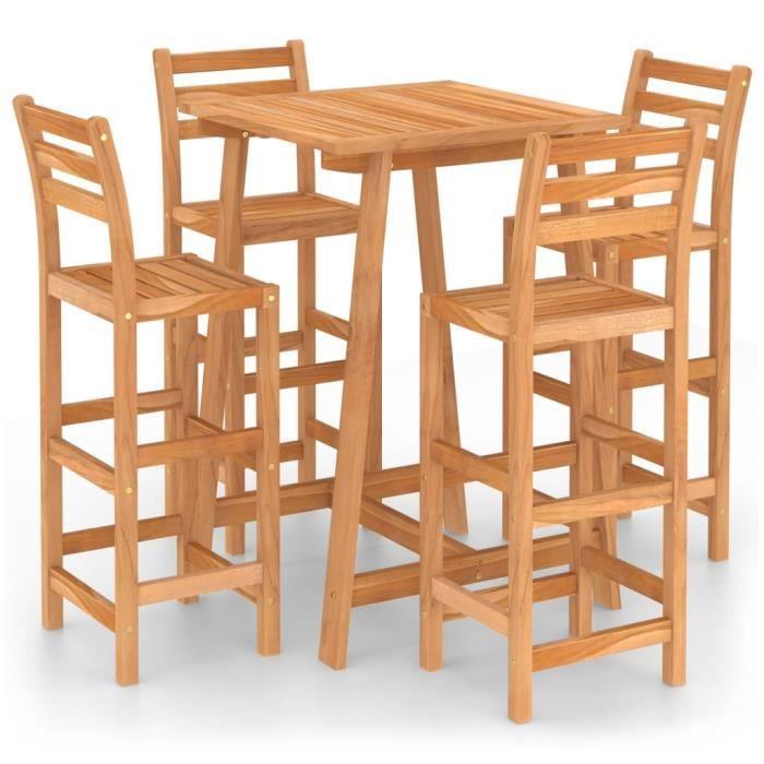 82810-Vintage Ensemble de bar de jardin - Ensemble Table de bar + 4 tabourets bar Luxueux - Bois d'acacia massif