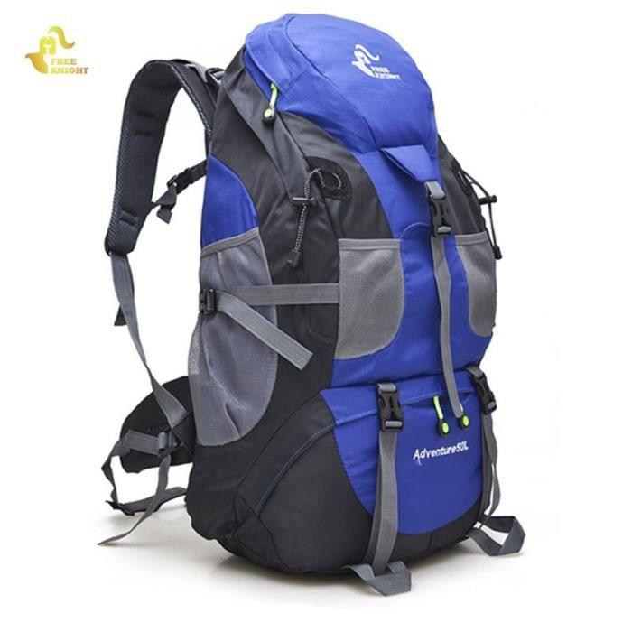 blue -Free Knight sac à dos imperméable Molle pour randonnée escalade, matériel Molle, alpinisme, Camping Trekking, voyage Sport 50l