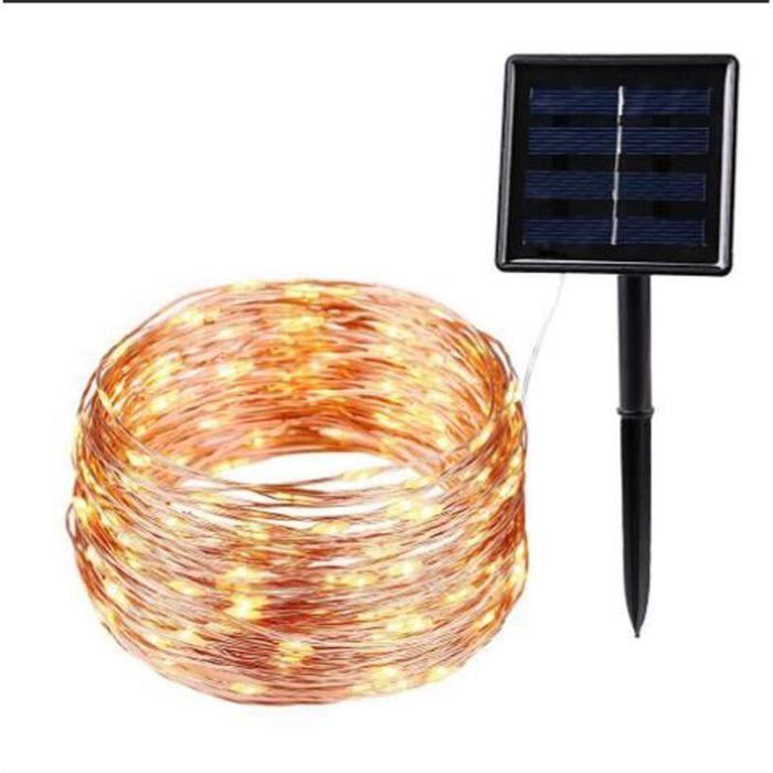 RE4539 Fil de cuivre à énergie solaire LED guirlande lumineuse solaire extérieure étanche Led bande fée lumière noël jardin vacanc