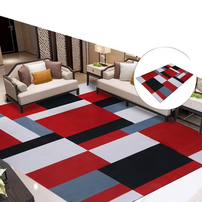 Tapis en polyester de antidérapants zone géométrique moderne pour chambre à coucher de salon rouge 120x170 cm