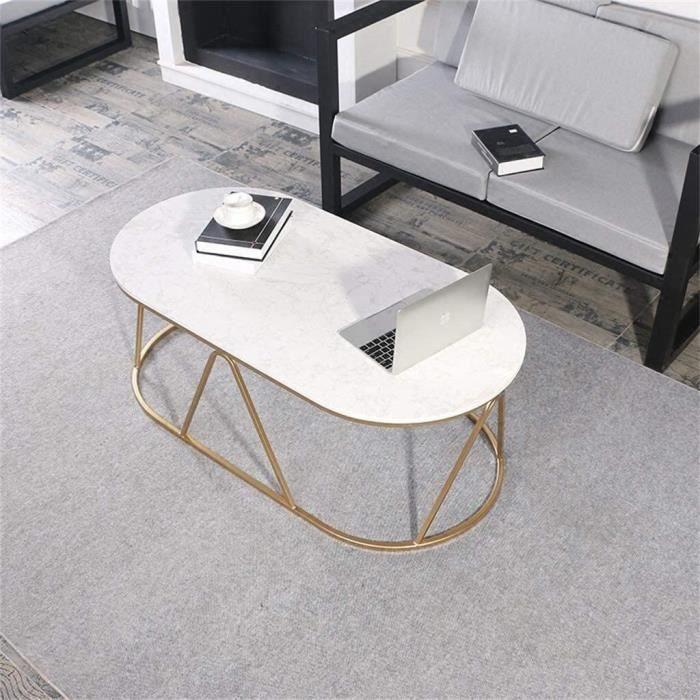 Tables de jardin Side Table Elliptique marbre Salon Desserte, Fer forgé Or Peinture de Cuisson en métal Plateau (Size : 100998