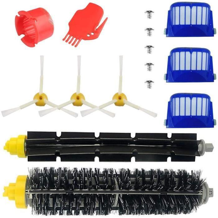 Kit Pièces Accessoires pour iRobot Roomba Série 600 Kit d'entretien avec Brosses & Filtres pour 600 605 610 615 616 620 621 625 630