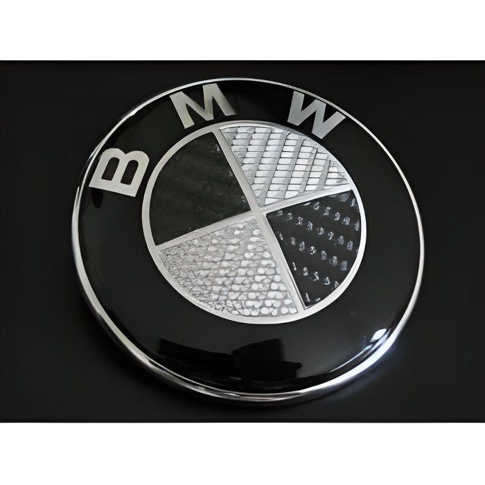 LOGO SIGLE EMBLEME BMW CARBONE NOIRE POUR VOLANT