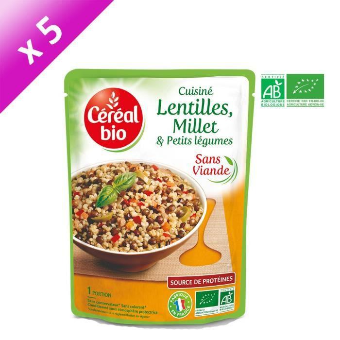 CEREAL BIO Lot de 5 Plats Cuisinés de Lentilles, Millet & Petits Légumes - Sans Viande - 250 g