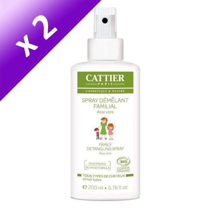 CATTIER Spray Démêlant Familial Bio - 200 ml (Lot de 2)