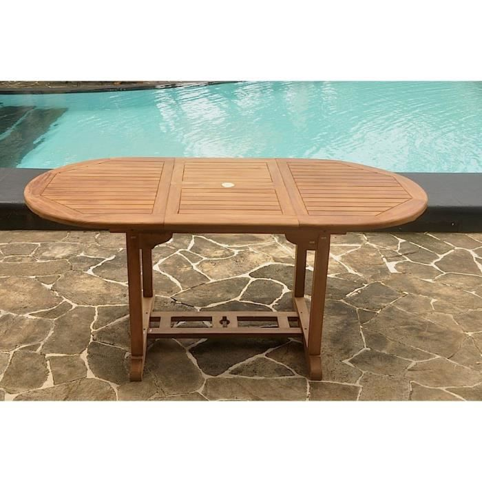 Table Kajang 6 : table de jardin ovale extensible en teck brut 6 personnes