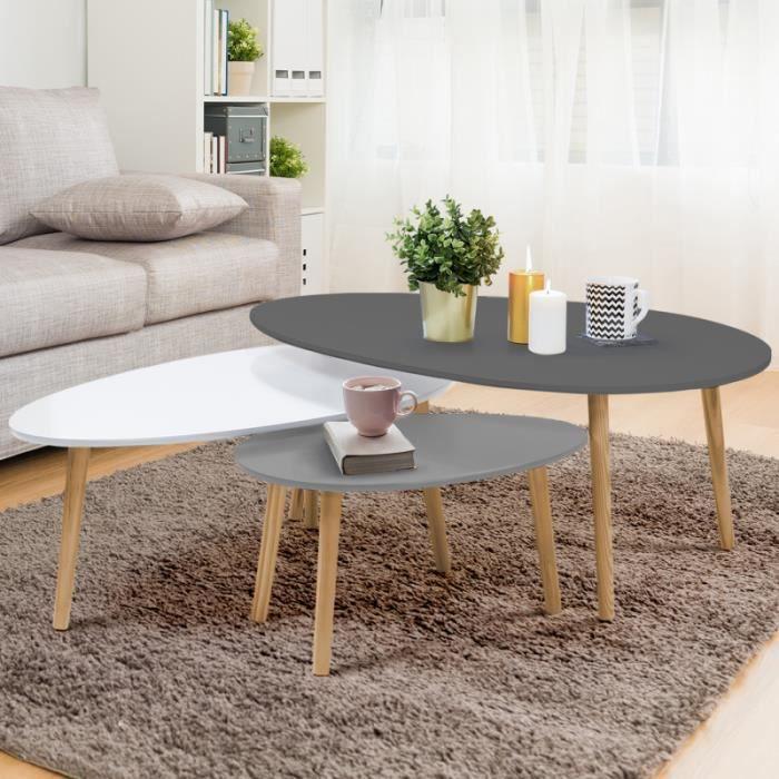Lot de 3 tables basses gigognes GIGI laquées gris foncé blanc gris clair