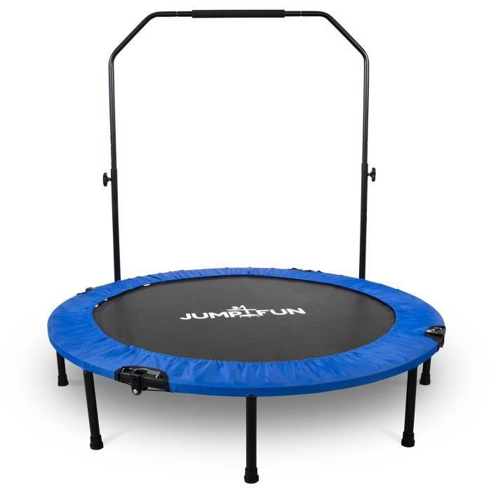 Mini Trampoline Fitness Jump4fun Pliable Double-Bar - Ø122cm, Gris