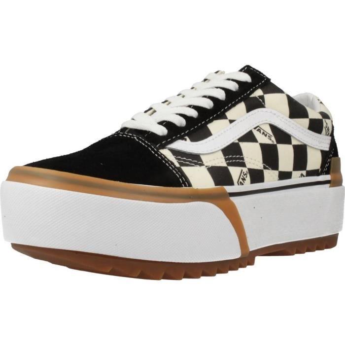 VANS Basket Checkerboard Old Skool Stacked Blanc/Noir - Mixte