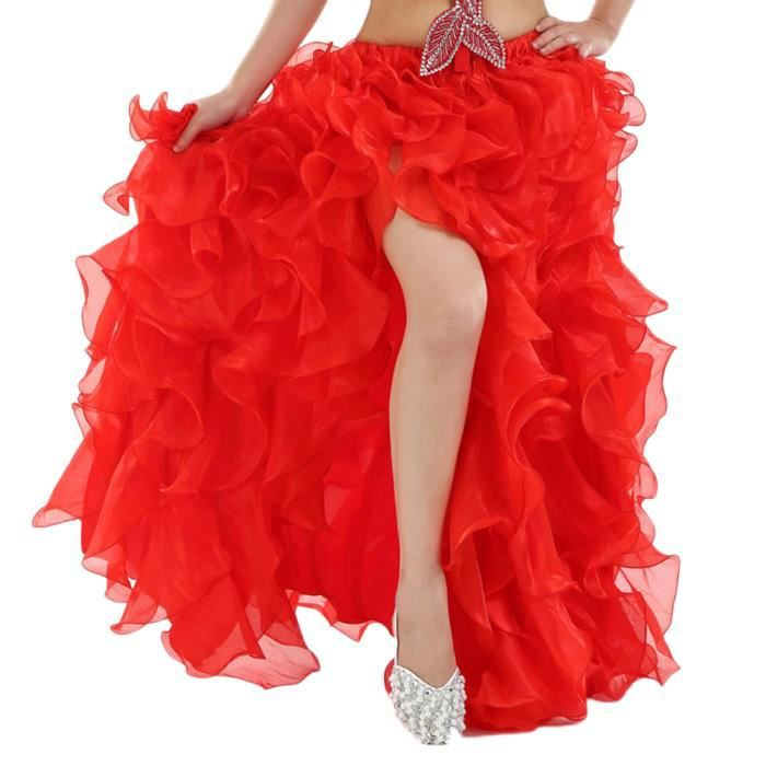 Jupe De Danse Du Ventre Flamenco À Longue Sans Ceinture Rouge 90CM