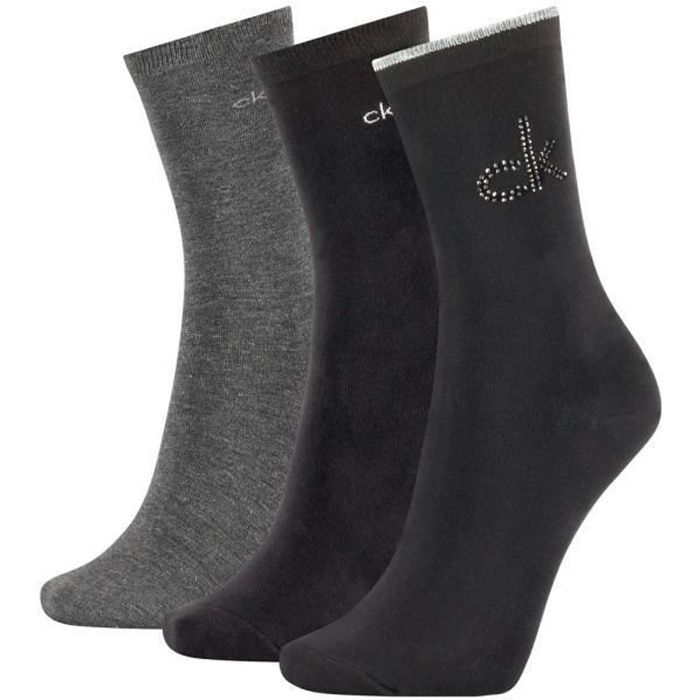 CALVIN KLEIN Coffret 3 paires de Chaussettes Femme Coton CRYSTAL LOGO Noir
