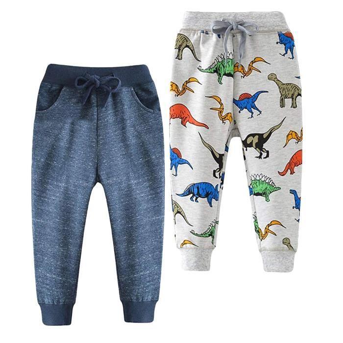 Pantalon de jogging pour bébé garçon dinosaure voiture animal imprimé cordon stretch pantalon de survêtement