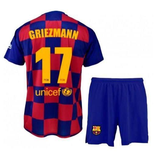ensemble tenue FC Barça Barcelone maillot et short flocage N° 17 Griezmann blaugrana