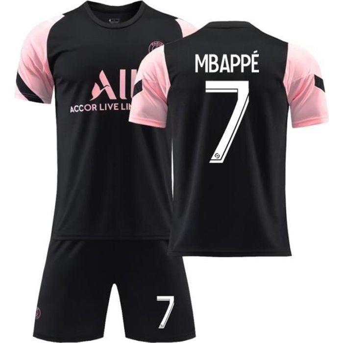 Maillot de Football 2122 T-Shirt de l'équipe Paris-Mbappé 7 Tenue de Training Noir Tenue de Formation Respirant pour Junior Enfant