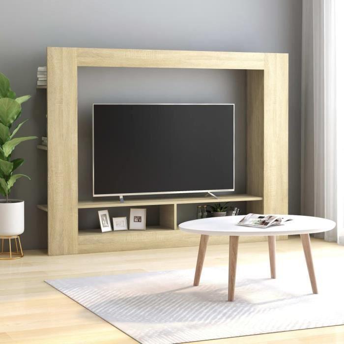 Meuble TV Chêne sonoma 152x22x113 cm Aggloméré