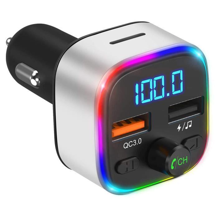 Adaptateur de voiture USB Transmetteur FM Bluetooth Chargeur de voiture USB avec 3 ports Visualisation de voyants pour t,Mèche,